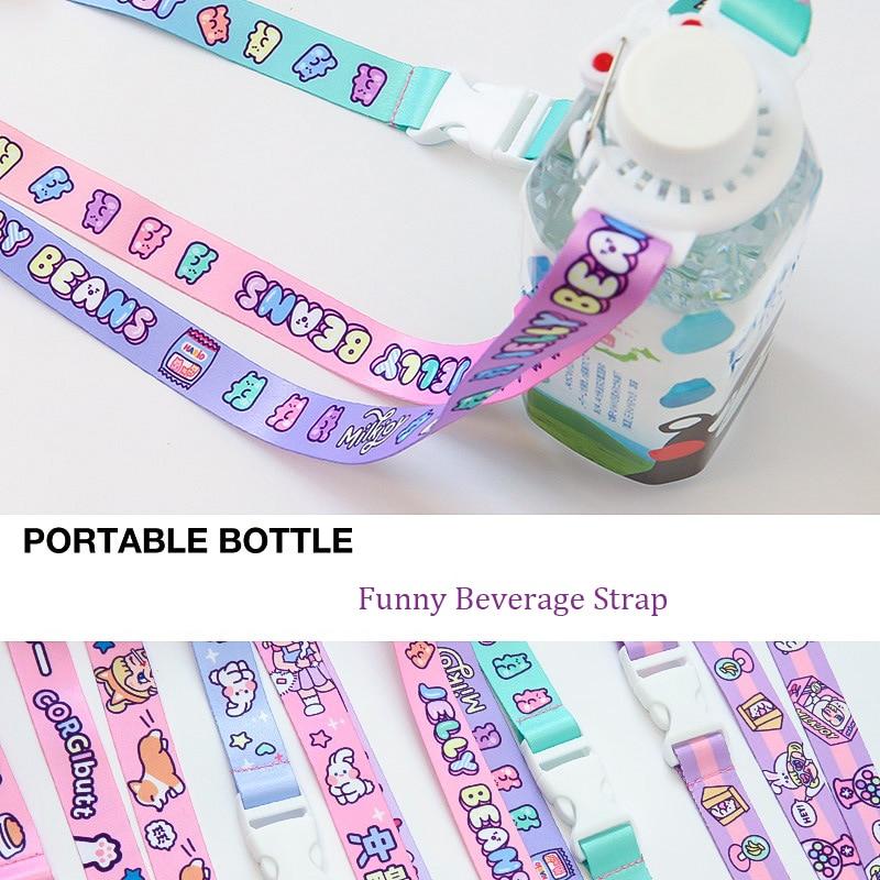 Korean Adjustable Drink Water Bottle Shoulder Strap For Children Women Portable Bottle Buckle Outdoor Colorful Travel Accessorie