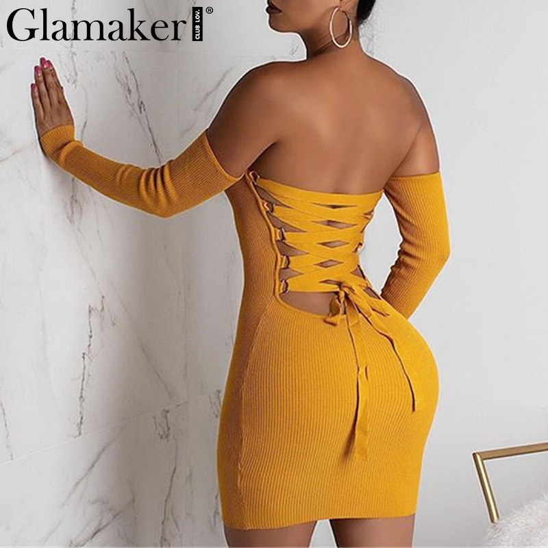Glamake Sexy Knitted Off Shoulder Bodycon Dress Women Backless Lace Up Mini Dress Elegant Female Autumn Party Club Dress Vestido