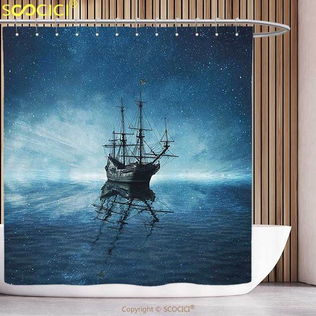 Polyester Shower Curtain Ocean A Ghost Pirate Ship On Dark Sea With Starry  Night Sky And