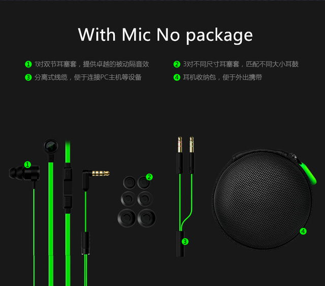 2016 New In ear Razer Hammerhead V2 Pro Earphone With Mic In Ear Gaming Headsets Noise Isolation Stereo Deep Bass for phone PC