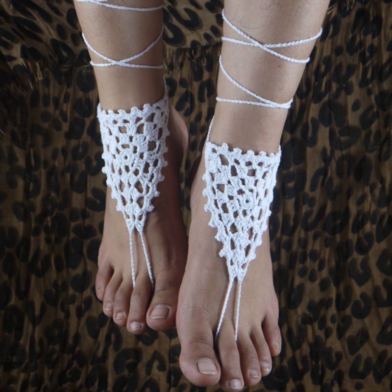 sexy yoga foot crochet lace media bridal sandals victorian white shoes anklet nude beach barefoot wedding jewelry