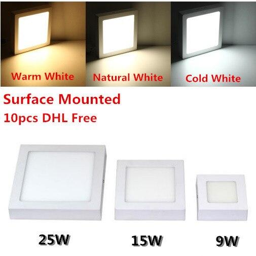 DHL бесплатно для 10 шт. поверхностного монтажа светодиодный потолочный светильник 9 Вт 15 Вт 25 Вт Лицевая панель с подсветкой с водителем теплы...