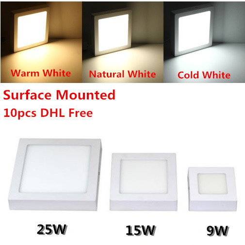 DHL Free for 10pcs Surface Mounted LED Ceiling down light 9W 15W 25W Surface Panel Light with driver warm white/white/cold white 9w 15w 25w led surface ceiling light squaer panel led down lamp ac85 265v warm white natural white cold white led indoor light