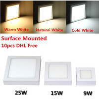DHL Free for 10pcs Surface Mounted LED Ceiling down light 9W 15W 25W Surface Panel Light with driver warm white/white/cold white