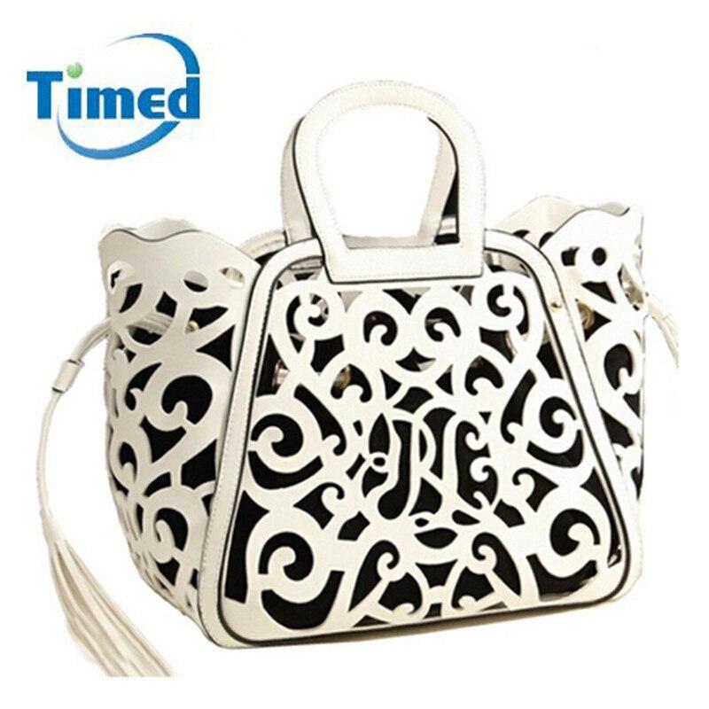 ФОТО Women Fashion Classic Totes Handbag Female Crossbody Bag PU Luxury Bags Lady Hollow Out  Shoulder Retro Tassel Messenger Bag