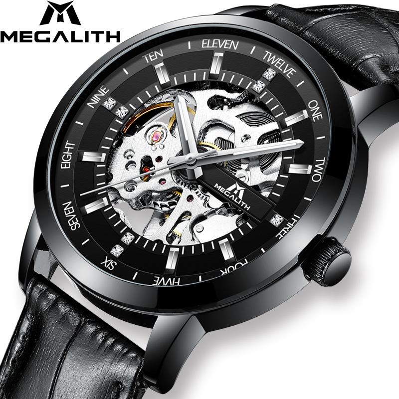 MEGALITH Fashion Skeleton Automatic Watch Men Waterproof Black Leather Strap Mechanical Watch Men Wrist Watch Clock