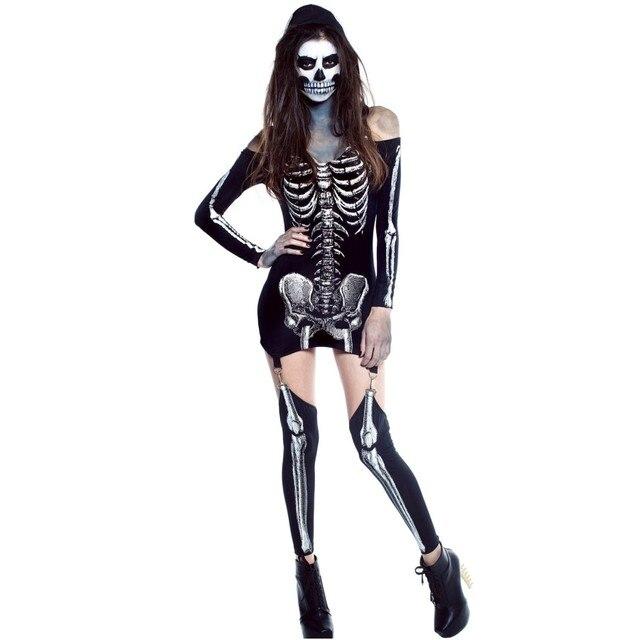 Enge Halloween Kostuums.Us 17 91 16 Off Ysmarket 2017 Schedel Volwassen Halloween Kostuums Voor Vrouwen Sexy X Doorgelicht Halloween Off Schouder Enge Skelet Kostuum