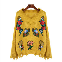 Harajuku Female Heavy Flower Stickers Embroidery Sweater Pullover 2017 Autumn Winter New Korean Knit Coatkawaii Retro