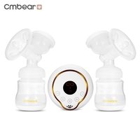 New 2017 Cmbear Double Bottle Breast Pumps Large Suction PP Material Breast Feeding Automatic Massage USB