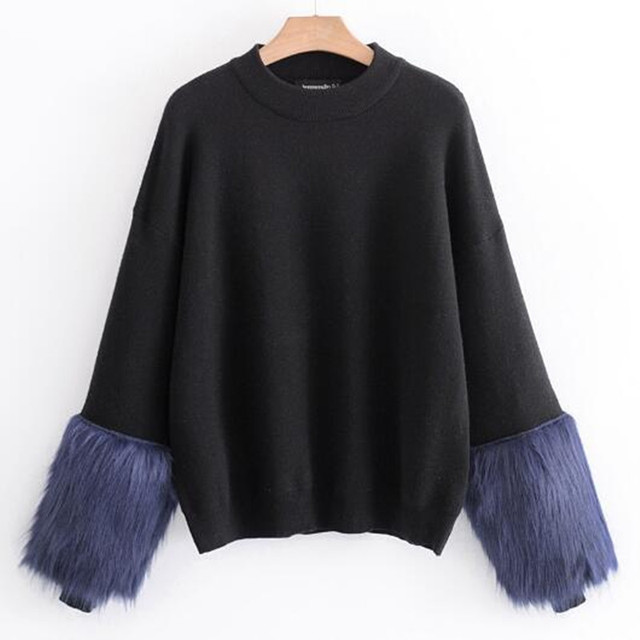 02bed90dad Vintage Long sleeve Spliced Faux Fur Cuff Sweater 2018 Women knitted  Pullover Black Jumpers Casual Knitwear