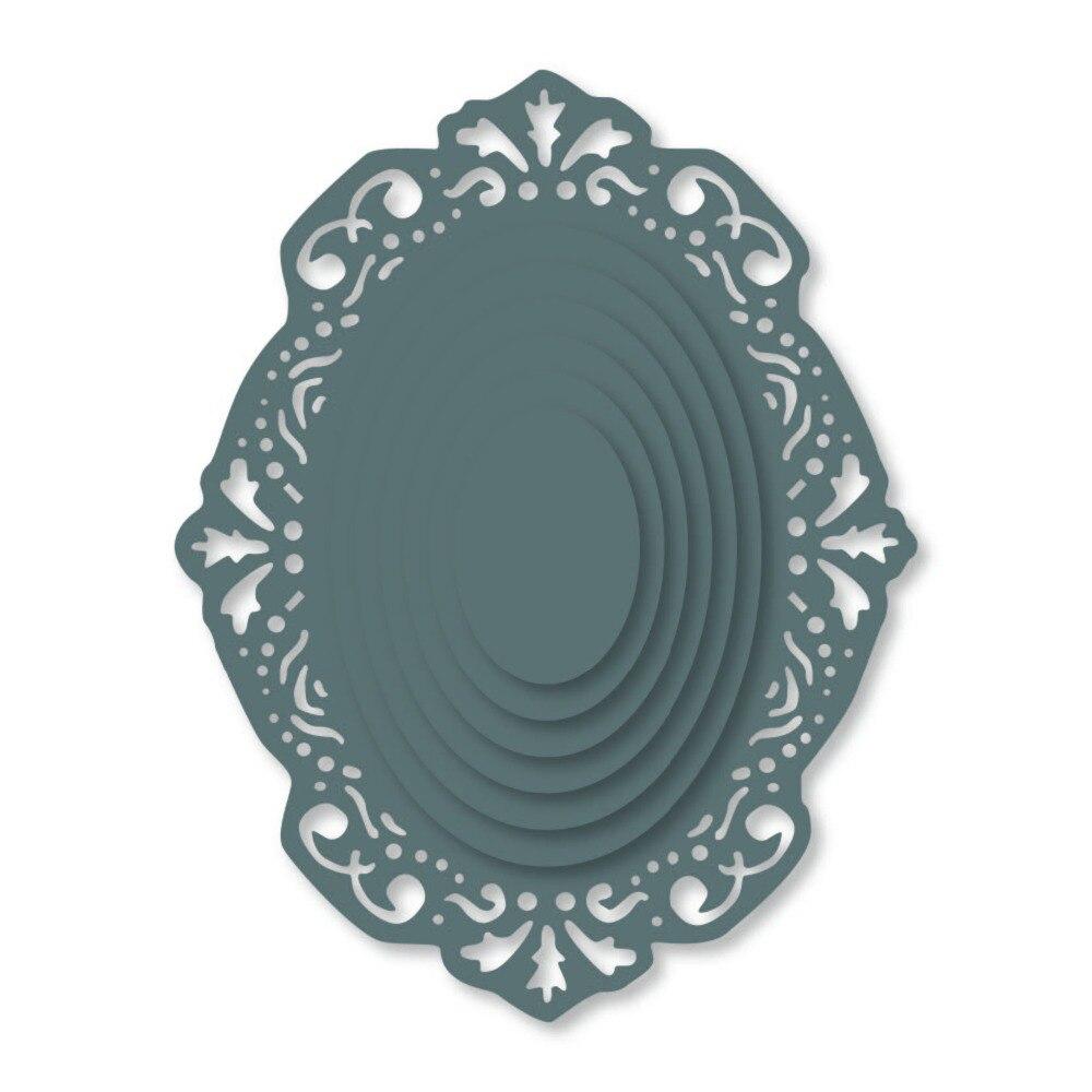 7pcs Oval Metal Cutting Dies Stencils Scrapbook Embossing Craft Photo Frame DIY