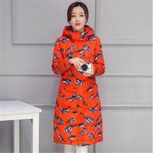 Женщины Вниз Парки Длинный Толстый Зимний Печатных Моды для Женщин, Пальто Вниз куртка для Женщин Одежда Толстые Outerwears Плюс Размер