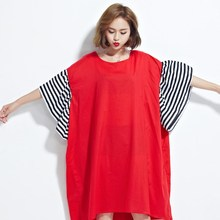 Summer Women Dress Size Striped Print Butterfly Sleeve Cotton Female Casual Loose Fashion Red ONeck TShirt Dress
