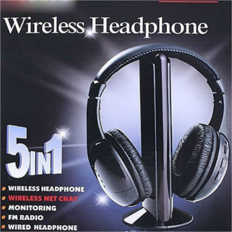 5 in 1 Wired and Wireless Bluetooth Headset Multifunction Headphone FM-Radio for PC DVD VCD MP3 Audio new 5 in 1 hi fi wireless headset headphone earphone for tv dvd mp3 pc r179t drop shipping