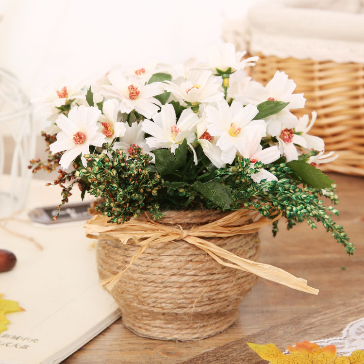 Wholesales European style simulation flower vase suite beauty chrysanthemum home decoration gifts 15 yuan / sets