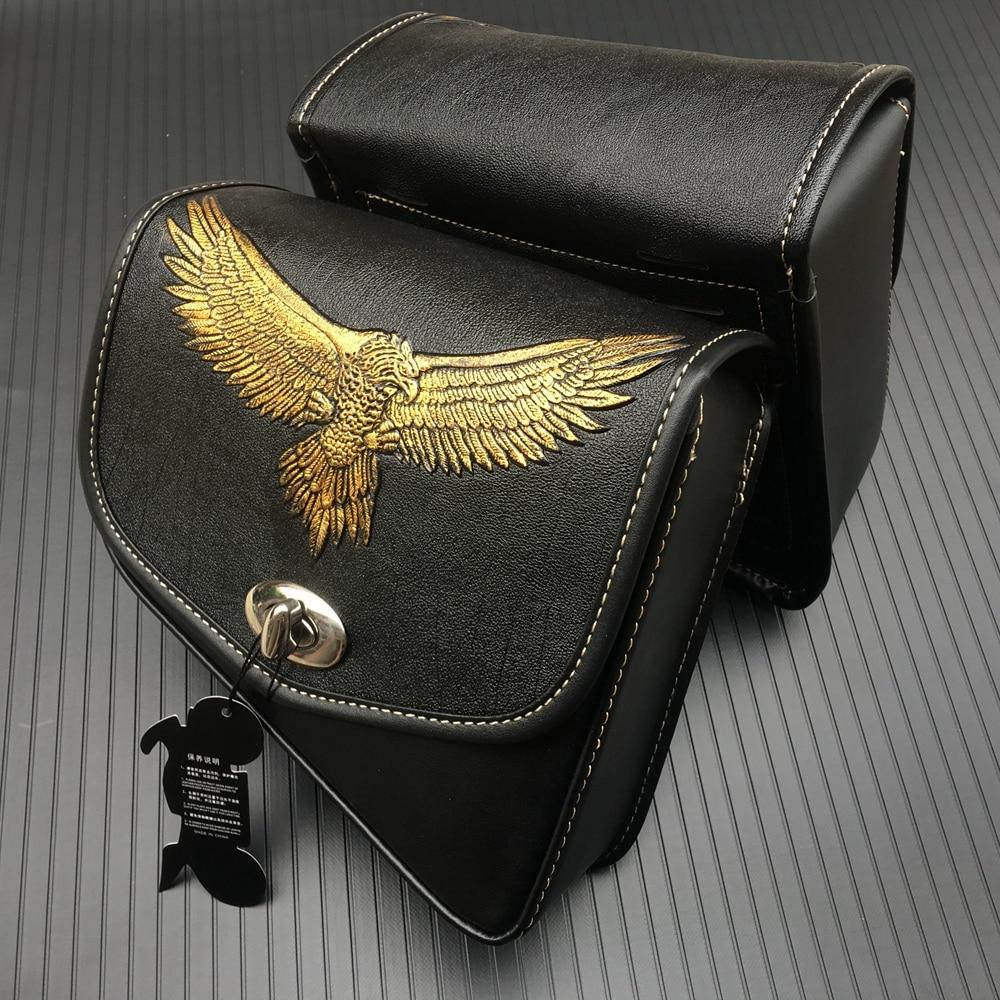 Motorcycle Saddle Bags PU Leather Swingarm Bag Motorcycle SaddleBags Side Tool Bags Storage For Harley Sportster 883 1200XL
