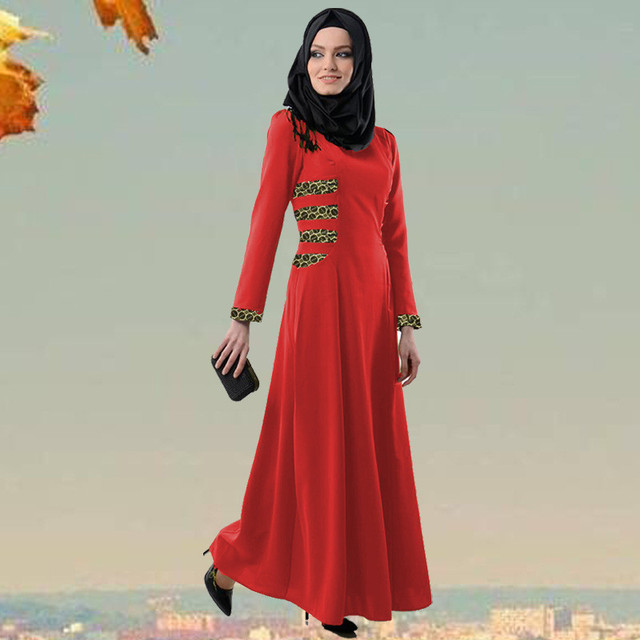 Women Arabic Muslim Dress New Fashion Patchwork Malaysia Maxi Dresses without scarf Long Sleeve Abaya Islamic Vestidos 40927