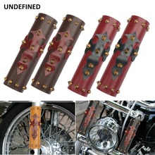 39mm-41mm Front Fork Protector Motorcycle Shock Absorber Leather Cover Guard For Harley Honda Yamaha Suzuki Universal motorcycle long 27cm wide 7cm front shock absorber guard wrap cover skin fork protector for pit bike