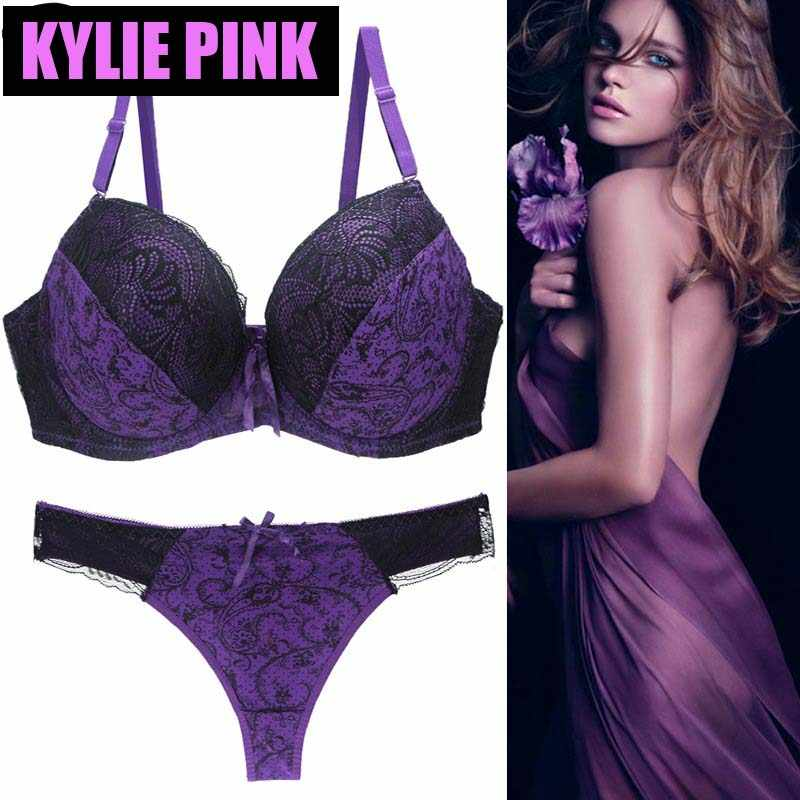 7edca3ba8f8ab KYLIE PINK New Women Bra and Panty Set Sexy Lace Bras Push Up Lingerie  Underwear For