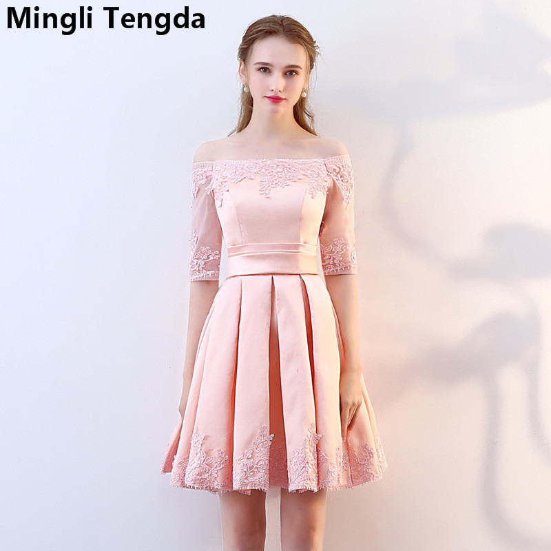 Mingli Tengda Pink Lace   Bridesmaid     Dress   Boat Neck Off the Shoulder Weeding Party   Dress   Knee-Length Elegant   Bridesmaid     Dresses