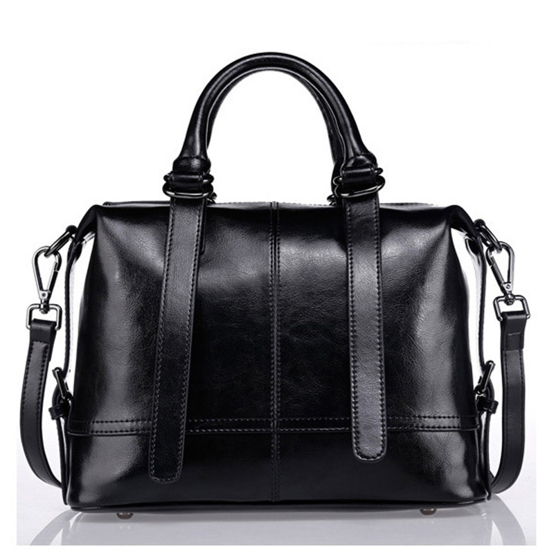 New Boston Genuine Cow Leather Women bag ladies women Messenger bags vintage designer handbags Cowhide famous brands tote bag pair of charming faux crystal hoop earrings for women