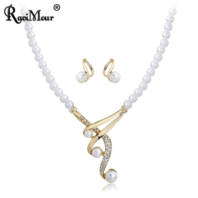5b11df2af RAVIMOUR Wedding Created Pearl Jewelry Sets Indian Choker Necklace Earrings  Set for Women Gold Color Statement