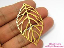 Raw brass leaf pendant 53x32mm Leaf sharped R516