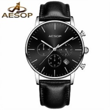 AESOP Mens Luxury Fashion Sport Casual Watches Aquartz Watch Wrist watch Genuine Leather Male Clock Men Relogio Masculino