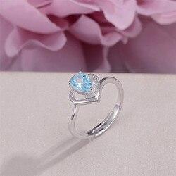 Topaz Yüzükler Kadınlar için Güzel Takı 925 Gümüş Ayar 100% Doğal Oval Su Damlası Mavi Taş Düğün Yüzük Anillos R-TO009