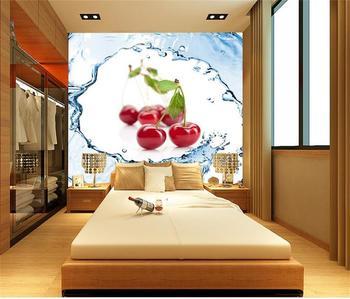 Niestandardowe fotorealistyczna tapeta 3d do sypialni mural świeże owoce cherry spray obraz sofa TV tło włóknina tapeta na ścianę 3d tanie i dobre opinie Yuan rolka Odporne na wilgoć Odporna na dym Pochłanianie dźwięku Dźwiękoszczelne Antystatyczna Odporne na pleśń