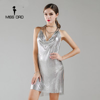 Missord 2019 Sexy sleeveless Deep V halter split sequin dress backless metal Christmas party dress FT3985