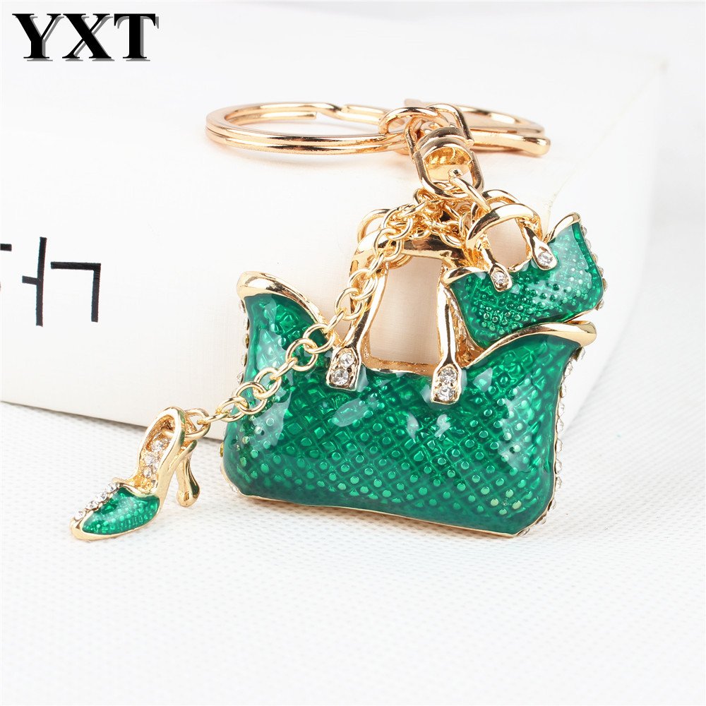 Fashion Two Green Handbag High Heel Shoe New Fashion Cute Rhinestone Crystal Car Purse Key Chain Jewelry Creative Party Gift