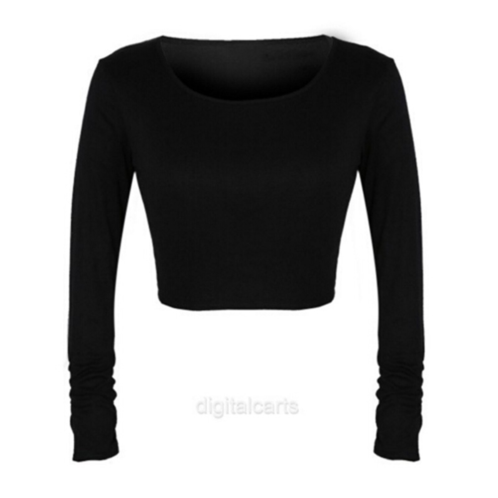 Women Summer Cotton Blend Breathable T-shirt Long Sleeve Navel Bare Crop Tops Sexy Casual Stand Neck High Quality
