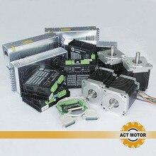ACT Motor 4Axis CNC Nema34 Stepper Motor 34HS9456 Single Shaft 4Lead 1090oz 99mm 5.6A+4PCS Driver DM860 7.8A 80V  Medical CNC