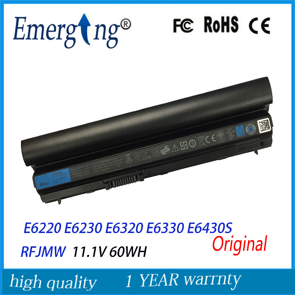 6cells 11.1V 60Wh Original  New  Laptop Battery for Dell Latitude E6120 E6220 E6230 E6320 E6330 E6430S RFJMW 11HYV 3W2YX 5X317 wholesale new 6 cells laptop battery for dell latitude d620 d630 d630c d631 series 0gd775 0gd787 0jd605 0jd606 free shipping