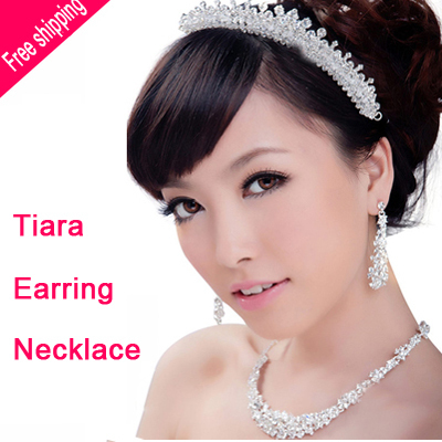 New Fashion Luxurious Crystal Bride wedding jewelry sets Noble Silver crown Necklace sets Sweet princess necklace accessories