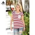 WomensDate Новый Летняя Мода Тонкий Camisetas Mujer С Коротким рукавом Полосатой Рубашке Женщины Простые Случайные Футболки Женские Топы