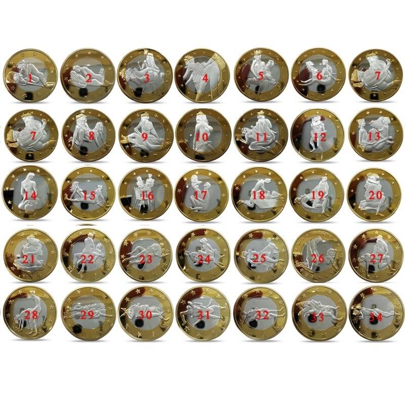 As crianças Adoram Interessante 34 pçs/set Não-moeda Moedas Comemorativas Moedas Design Diferente Posição Do Kama Sutra Duro