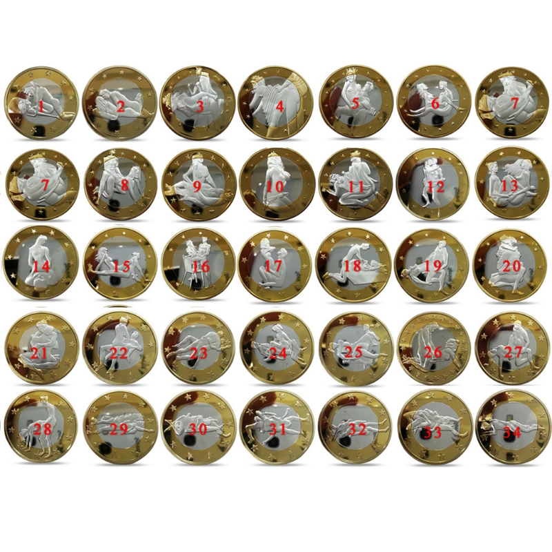 Children Love Interesting 34pcs/set Non-currency Coins Different Design Kama Sutra Position Hard Commemorative Coins