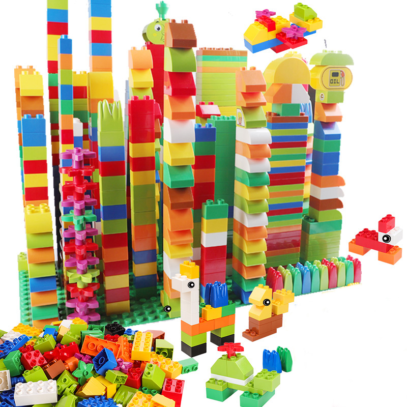 72-260 stücke Große Bausteine Geschenk Anweisung Aufkleber Bunte Groß Ziegel Mit Abbildung Zubehör Kompatibel Duploed Spielzeug