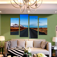 Frameless Highway Scenery Wall Art Canvas Painting 4 Panel Oil Painting On Canvas Good Quality Wall Art HD Poster Home Decor