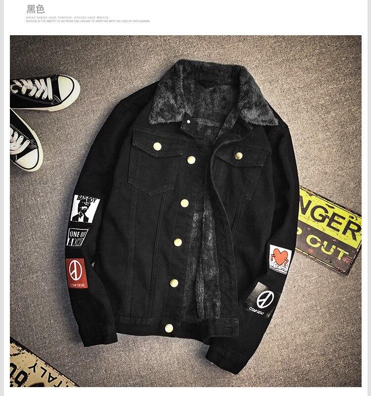 CLASSDIM Men Winter Denim Jackets Warm Jean Coats New Fashion Men Cotton Casual Warm Jean Jackets Winter Thicker Denim Jackets