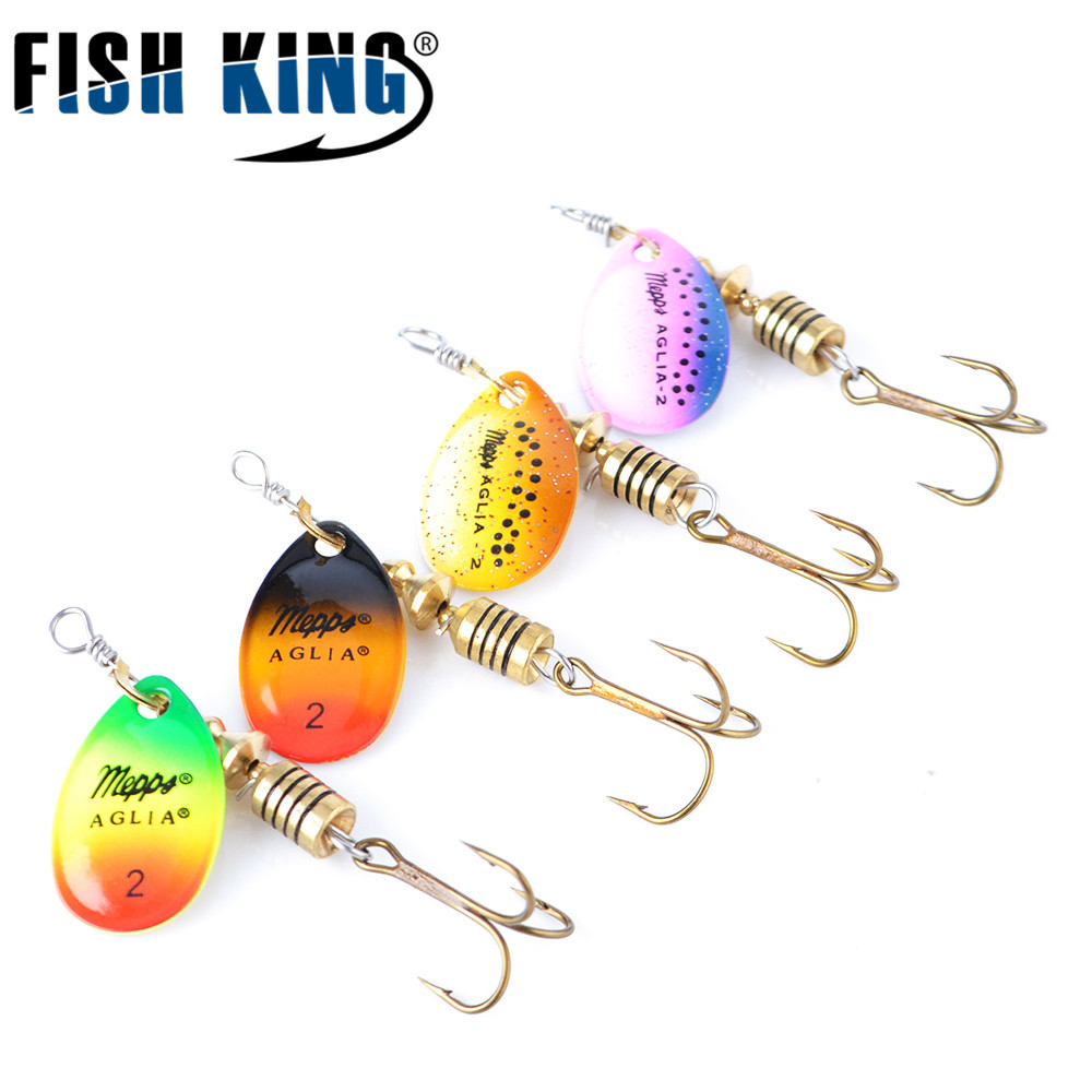 Fish King Mepps Spinner Fishing Lure 4Pcs/Lot Spoon Fishing Lures With Mustad Treble Hooks For Fishing Tackle Pesca Accessories bammax fishing lure 1 box metal iron hard bait sequins shore jigging spoon lures fishing connector pin fishing accessories pesca