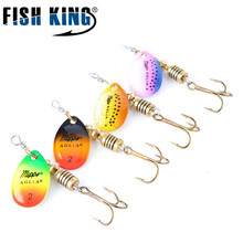 Fish King Mepps Spinner Fishing Lure 4Pcs Lot Spoon Fishing Lures With Mustad Treble Hooks For