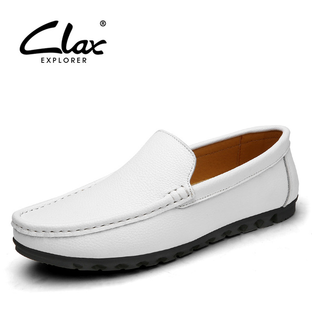 ClaxMen Barco Antideslizante Zapato Plano Diseñador Negro Blanco Vestido Ocio Mocasín Mocasines para Hombre Elegante de Cuero