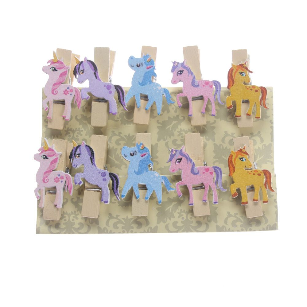 10pcs Unicorn Wooden Diy Photo Clips Handmade Cartoon Unicorn Wood Photo Clip Unicorn Decor Supplies