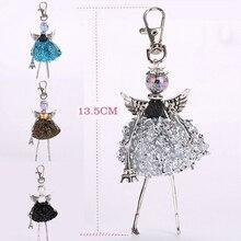 YLWHJJ new women doll bag keychain cute dress princess pendant angel wings Silver debris car key chains girls fashion jewelry