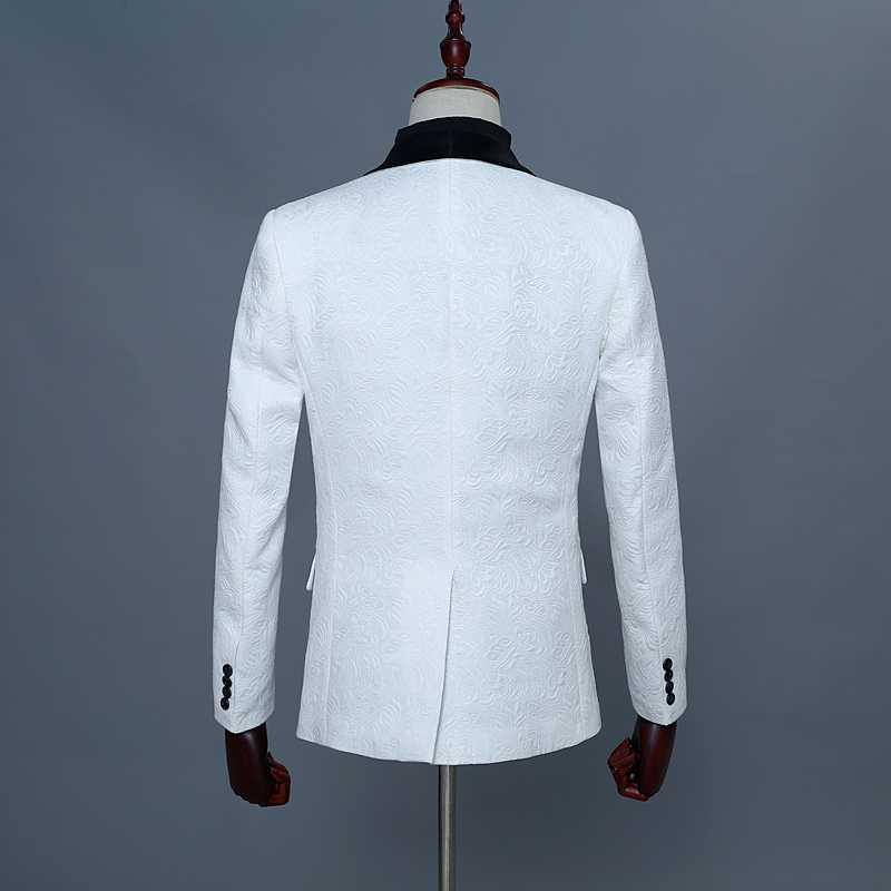 クラシックジャガード白スーツ男性無地ショール襟メンズジャケットベストパンツ結婚式のホスト歌手 Constumes Hombre 3 ピースセット