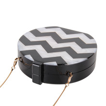 NEW Design Acrylic Round Shape Women Clutch Bag Stripe Sexy Lady Evening Bag Female Chain Mini Purse Shoulder Bag Handbag Flap