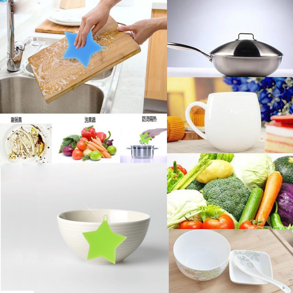Soft Silicone Sponge Scrubber Kitchen Fruit Dish Washing Household Cleaning Pop